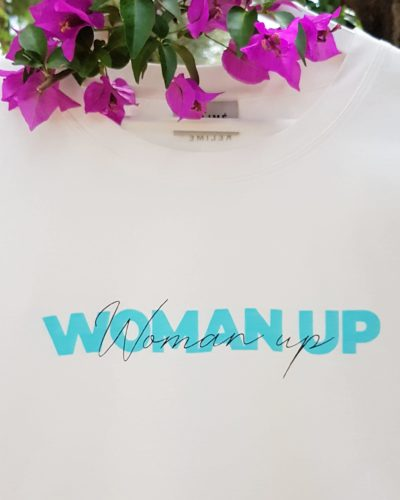 Print WOMAN UP T-shirt 100% Bio Studio Kelime