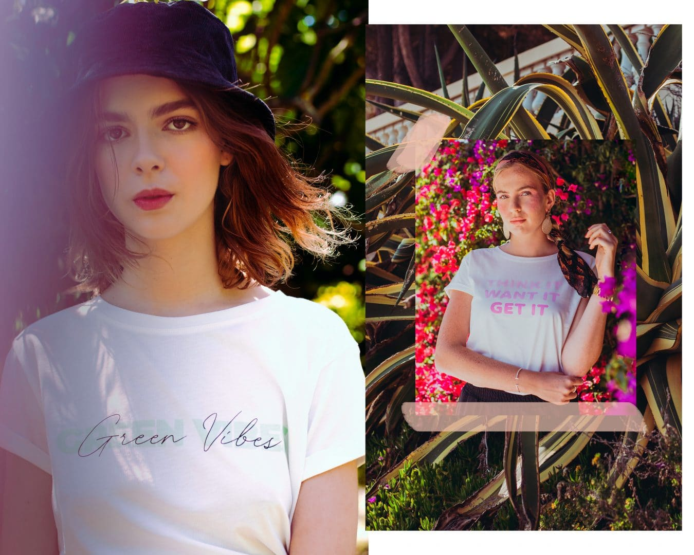 Studio Kelime Tee-shirt Femme Green Vibes et Think it