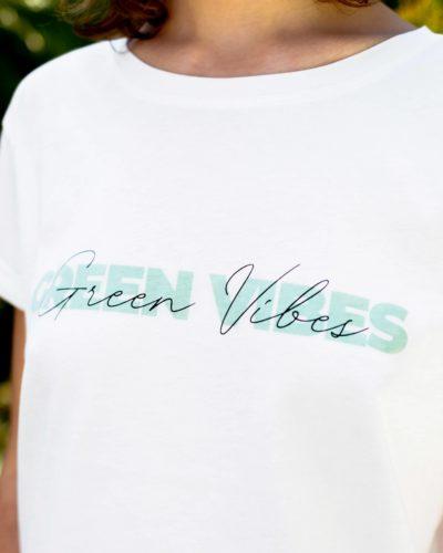 Studio Kelime Tee Shirt femme Green Vibes 100% coton organic blanc imprime